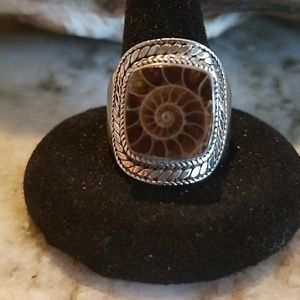 Ammonite set in sterling silver ring
